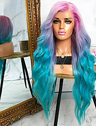 cheap -Synthetic Wig Body Wave Asymmetrical Wig Long Ombre Green Synthetic Hair 27 inch Women's Best Quality Middle Part Green