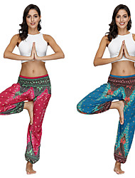 cheap -Women's Dancer Yoga Meditation Masquerade Boho Exotic Dancewear Polyster Red Green Pants