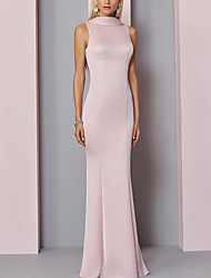 cheap -Sheath / Column Elegant Engagement Formal Evening Dress High Neck Sleeveless Floor Length Satin with Pleats 2020