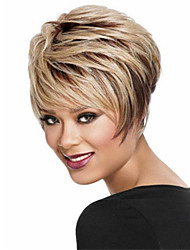 cheap -Synthetic Wig Loose Curl Asymmetrical Wig Short Light golden Synthetic Hair 6 inch Women's Best Quality Blonde