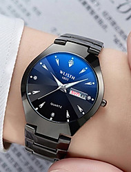 cheap -Men's Dress Watch Quartz Water Resistant / Waterproof Calendar / date / day Stopwatch Analog - Digital Fashion - Black Black / White Black / Silver