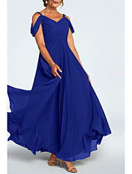 cheap -A-Line Mother of the Bride Dress Elegant Plunging Neck Ankle Length Chiffon Short Sleeve with Ruching 2021