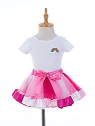 Недорогие -Детская одежда для танцев Юбки Рюши / сборки Девочки Выступление На каждый день Рукава до локтя Заниженная талия Хлопок