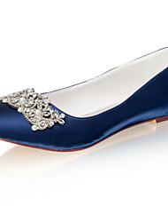 cheap -Women's Wedding Shoes Flat Heel Round Toe Rhinestone / Pearl Satin Spring &  Fall / Summer Dark Blue / Party & Evening