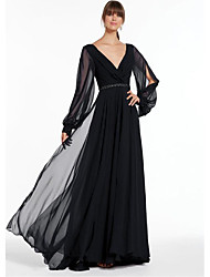 cheap -A-Line V Neck Floor Length Chiffon Empire / Black Formal Evening / Holiday Dress with Beading 2020