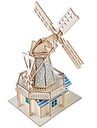 cheap -3D Puzzle Wooden Model Windmill Famous buildings House DIY Wooden 1 pcs Kid's Adults' Unisex Boys' Girls' Toy Gift