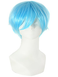 cheap -Synthetic Wig Curly Asymmetrical Wig Short Blue Synthetic Hair 11 inch Men's Best Quality Blue