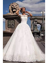 cheap -A-Line / Ball Gown Off Shoulder Chapel Train Lace / Tulle / Lace Over Satin Short Sleeve Plus Size Made-To-Measure Wedding Dresses with Appliques 2020