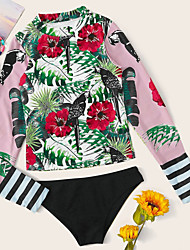 abordables -Femme Sportif Basique Rose Claire Col Haut Tanga Bikinis Maillots de Bain - Animal Imprimé S M L Rose Claire