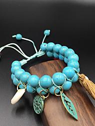 cheap -Women's Turquoise Bead Bracelet Beads Leaf Folk Style Turquoise Bracelet Jewelry Blue / Red For Festival