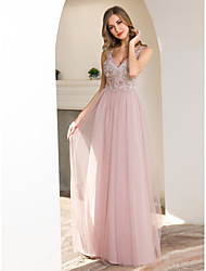 cheap -A-Line Plunging Neck Floor Length Tulle Bridesmaid Dress with Appliques