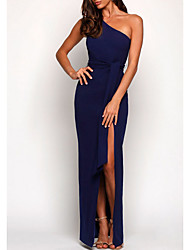 cheap -Sheath / Column One Shoulder Floor Length Jersey Bridesmaid Dress with Split Front / Open Back