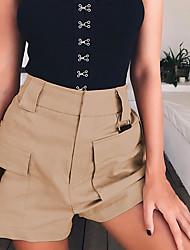 cheap -Women's Sporty / Basic Shorts Pants - Solid Colored Black / White, Patchwork Black White Khaki S M L