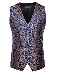 cheap -Men's Vest, Color Block V Neck Polyester Black / White / Gold