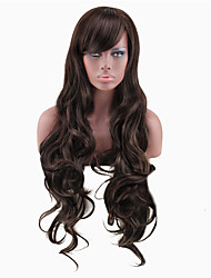 cheap -Synthetic Wig Curly Asymmetrical Wig Long sepia Synthetic Hair 27 inch Women's Best Quality Dark Brown