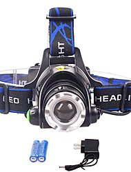 cheap -3 Headlamps Waterproof Zoomable 700-900 lm LED LED 1 Emitters 3 Mode with Batteries and Charger Waterproof Zoomable Rechargeable Adjustable Focus Strike Bezel Camping / Hiking / Caving Cycling / Bike