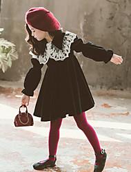 cheap -Kids Girls' Color Block Long Sleeve Above Knee Dress Black