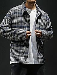 cheap -Men's Daily Fall & Winter Regular Jacket, Plaid Shirt Collar Long Sleeve Polyester Camel / Navy Blue