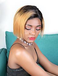 cheap -Remy Human Hair Unprocessed Virgin Hair 4x13 Closure Wig Bob Pixie Cut Side Part style Brazilian Hair Straight Brown Wig 180% Density Classic Best Quality New Arrival Hot Sale 100% Virgin Women's