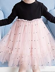 cheap -Kids Girls' Color Block Long Sleeve Midi Dress Black