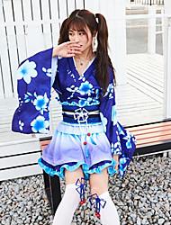cheap -Sweet Lolita Princess Lolita Kimonos Japanese Traditional Kimono Female Japanese Cosplay Costumes Blue Color Block Long Sleeve / Dress