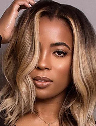 cheap -Synthetic Wig Loose Curl Asymmetrical Wig Medium Length Blonde Synthetic Hair 15 inch Women's Best Quality Middle Part Blonde