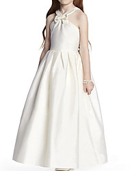 cheap -A-Line V Neck Floor Length Satin Junior Bridesmaid Dress with Bow(s)