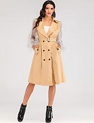 cheap -Women's Party / Daily Vintage / Sophisticated Fall & Winter Long Coat, Polka Dot Peaked Lapel Long Sleeve Nylon Patchwork / Print Khaki