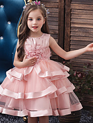cheap -Kids Little Girls' Dress Solid Colored Red Yellow Blushing Pink Dresses