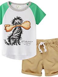 cheap -Kids Boys' Basic Cartoon Short Sleeve Clothing Set White