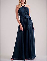 cheap -A-Line Spaghetti Strap Floor Length Chiffon Bridesmaid Dress with Sash / Ribbon / Ruching / Open Back