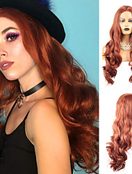 cheap -Synthetic Lace Front Wig Body Wave Middle Part Lace Front Wig Long Copper Brown Synthetic Hair 18-26 inch Women's Heat Resistant Synthetic Easy dressing Red / Natural Hairline