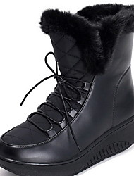 cheap -Women's Boots Flat Heel Round Toe Suede Mid-Calf Boots Winter Black / White