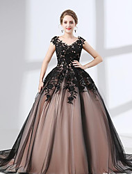 cheap -A-Line Wedding Dresses V Neck Chapel Train Lace Tulle Regular Straps Black with Appliques 2020