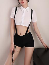 cheap -Women's Racerback Chemises & Gowns / Gartered Lingerie / Matching Bralettes Nightwear Color Block White S M L