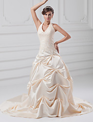 cheap -A-Line Wedding Dresses Halter Neck Chapel Train Lace Satin Regular Straps with Pick Up Skirt Beading Appliques 2020