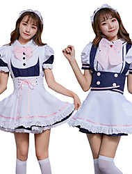 cheap -Sweet Lolita Princess Lolita Dress JSK / Jumper Skirt Female Japanese Cosplay Costumes White / Blue Color Block Bowknot Short Sleeve / Apron