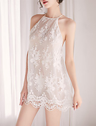 cheap -Women's Lace Backless Mesh Babydoll & Slips Suits Nightwear Jacquard Solid Colored Embroidered White S M L