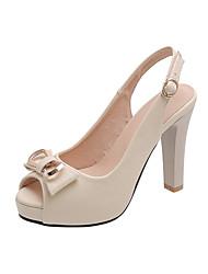 cheap -Women's Heels Chunky Heel Peep Toe Bowknot PU Casual Summer Black / White / Beige