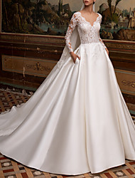 cheap -A-Line Wedding Dresses V Neck Sweep / Brush Train Lace Satin Long Sleeve Plus Size Illusion Sleeve with Embroidery 2020