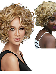 cheap -Synthetic Wig Curly Asymmetrical Wig Blonde Short Blonde Synthetic Hair 5 inch Women's Best Quality Blonde