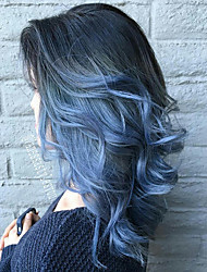 cheap -Synthetic Wig Loose Curl Asymmetrical Wig Long Black / Blue Synthetic Hair 23 inch Women's Color Gradient Best Quality Fluffy Blue