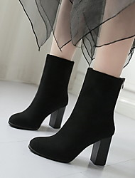 cheap -Women's Boots Chunky Heel Round Toe Suede Booties / Ankle Boots Fall & Winter Black / Brown / Gray