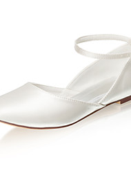 cheap -Women's Wedding Shoes Flat Heel Round Toe Buckle Satin Spring &  Fall / Summer Ivory
