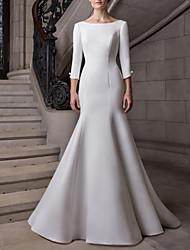 cheap -Mermaid / Trumpet Wedding Dresses Bateau Neck Court Train Satin 3/4 Length Sleeve Plus Size Elegant with Buttons 2021