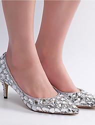 cheap -Women's Wedding Shoes Crystal Sandals Low Heel Pointed Toe Rhinestone / Crystal / Sparkling Glitter PU Vintage / Minimalism Spring &  Fall / Spring & Summer Silver / Rainbow