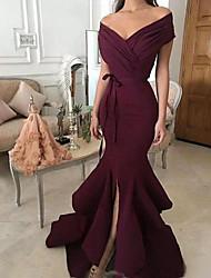 cheap -Mermaid / Trumpet Off Shoulder Sweep / Brush Train Chiffon Elegant Engagement / Formal Evening Dress with Sash / Ribbon / Split Front / Ruched 2020
