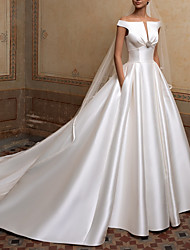 cheap -A-Line Wedding Dresses Off Shoulder Sweep / Brush Train Satin Short Sleeve Simple Elegant with Buttons Crystal Brooch 2020