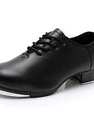 cheap -Men's / Boys' Tap Shoes Faux Leather Lace-up Heel Splicing Thick Heel Dance Shoes Black