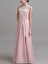 cheap -A-Line Jewel Neck Floor Length Chiffon Junior Bridesmaid Dress with Split Front / Ruching